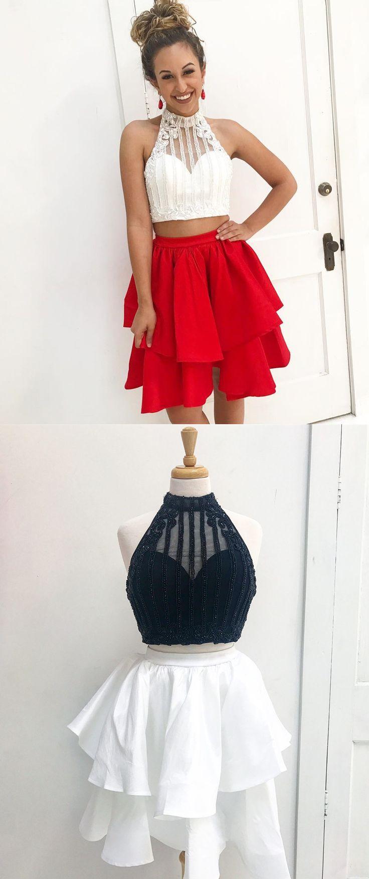 two piece short homecoming dress, 2017 short homecoming dress, white and red short homecoming dress, black and white homecoming dress party dress dancing dress