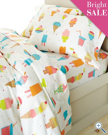Ice Cream Percale Bedding so cute for Sophie's big girl bed!