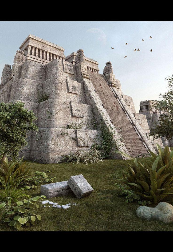 Se trata de una pirámide azteca. Lo que queda de ella se encuentran las ruinas de la antigua civilización. Hace la pirámide fue construida hace miles de años. Se sigue en pie incluso nuestro mundo recién avanzado.