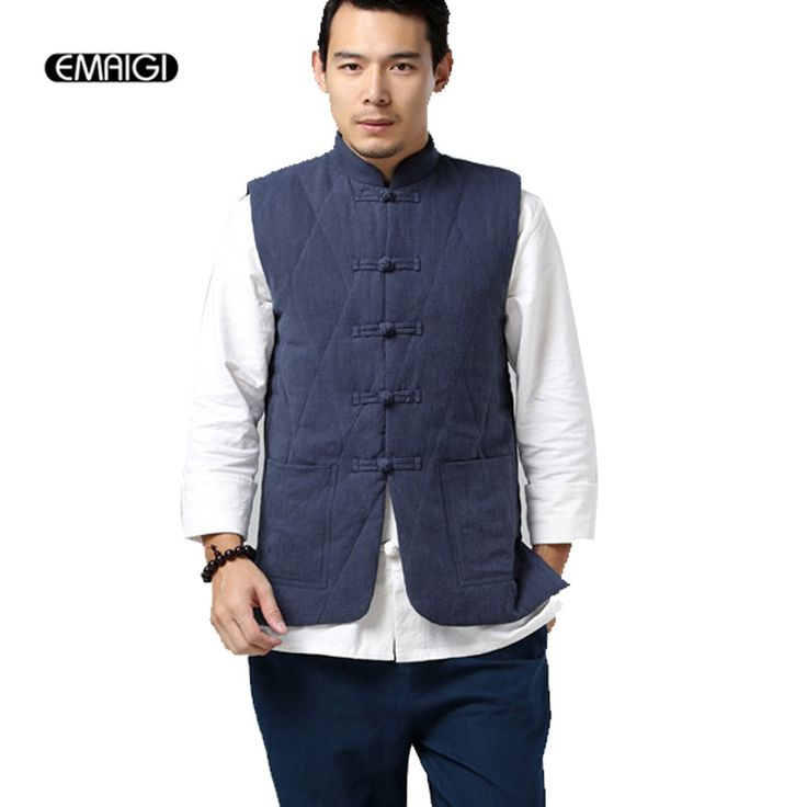 Cotton Padded Thick Vest China Style Stand Collar Men Sleeveless Jacket Male High Quality Linen Slim Fit Casual Waistcoat