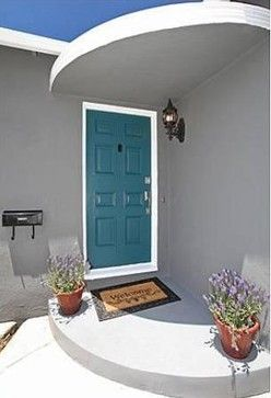 Teal front door, mid century inspired, turquoise, curb appeal, exterior, los angeles