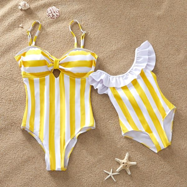 Mommy/&Me Swimsuits Two Piece Stripe Matching Family Swimwear Bikini Set for Mom and Daughter