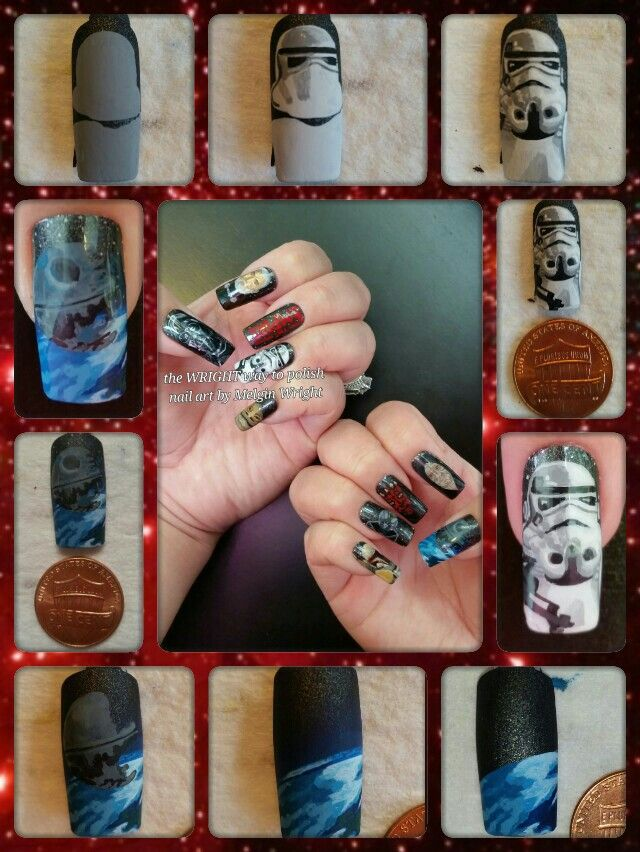 Star Wars/ The Empire step by step  hand painted nail art by Melgin Wright!http://www.facebook.com/TheWrightWayToPolishNailArtByMelginWright