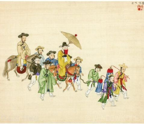 'Groom going to Bride's house for the Wedding(신행 新行)' painted by Kim Jun-geun(김준근 金俊根,?) in the late 19th century.