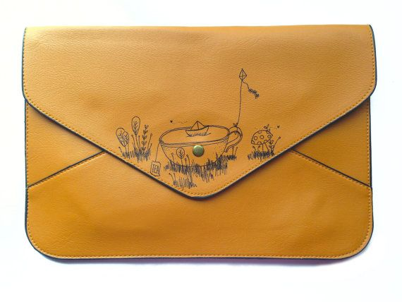 Brown Envelope Leather Clutch with Cute Nature by HappyMarker