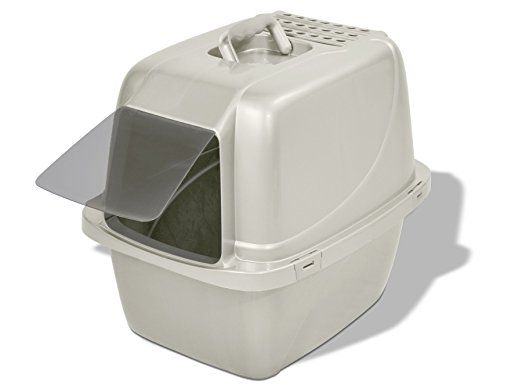 Van Ness CP6 Enclosed Cat Pan Little Box - Van Ness || While not the most eco-friendly litter box, this is a good option for cat-owners looking for a more traditional litter box. It is made in the USA and uses 20% recycled plastic. #recycled #madeinusa #americanmade #usamade