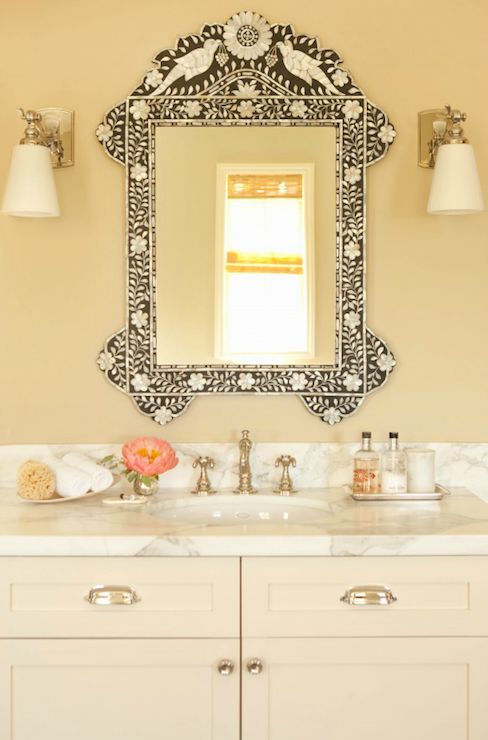 Taylor Borsari - bathrooms - cream bathroom, pale yellow walls, pale yellow bathroom walls, bone inlay mirror, white glass sconce, bathroom ...
