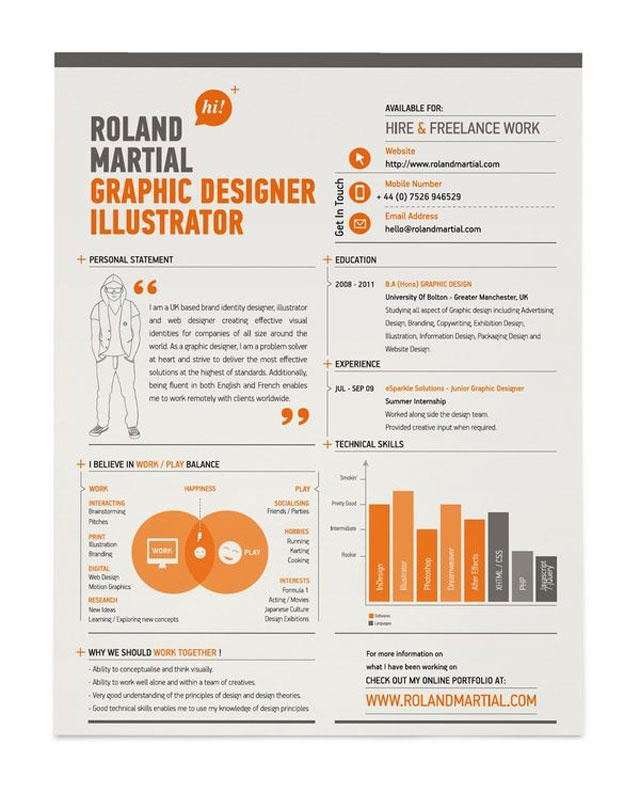 Your resume should reflect the real you, and show off your real skills. For a graphic design position it's a great move to show off a creative resume. This one is sharp, still includes the info I need, and catches my eye through design - exactly what I need from a graphic design position. How could your resume showcase your abilities?