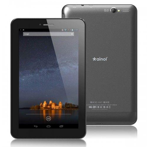 Fabulosa Tablet PC AINOL AX1 3G GPS con pantalla de 7 pulgadas capacitiva multitáctil y un poderoso sistema operativo Android 4.2.1, equipado con procesador MTK8389 ARM Cortex A7 Quad-Core a 1.2GHz que te permite descargar cientos de aplicaciones gratuitas desde Android Market.