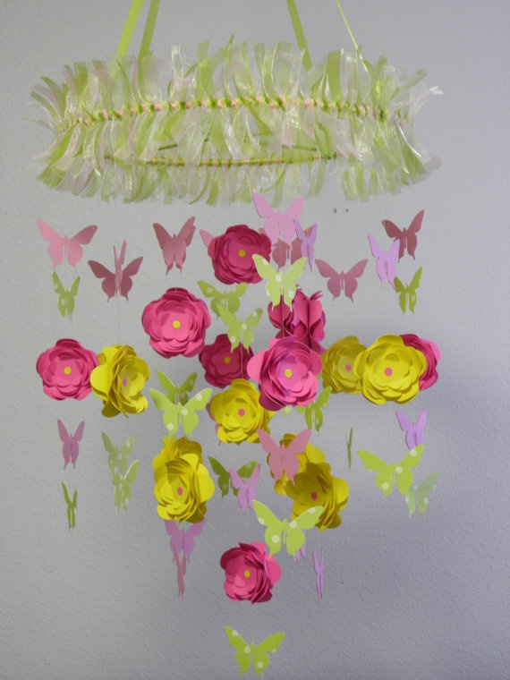 Flower and Butterfly Paper Mobile   by whimsicalaccents