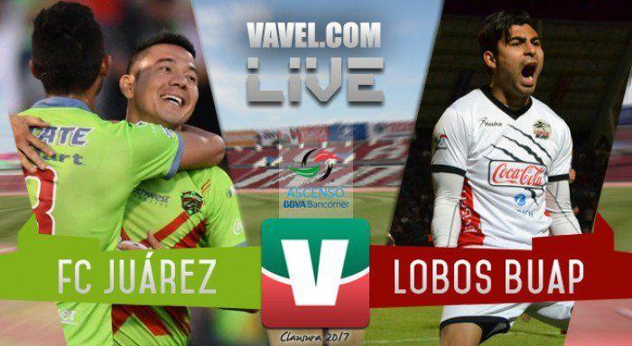 Minuto a minuto del partido FC Juárez vs Lobos BUAP en vivo y en directo online, correspondiente al juego de vuelta de la Final del Clausura 2017 del Ascenso MX. Horario del juego: 20:00. ¿Cómo y dónde ver el juego?