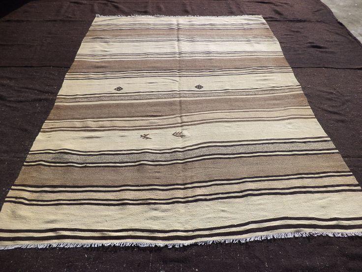 """Soft Color Striped Kilim Rug,6,10""""x9,2"""" Feet 208x280 Cm Turkish Handmade Kilim Rug,Ethnic Traditional Stripe Anatolian Kilim Rug."""