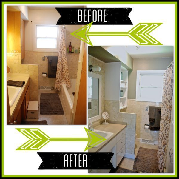 How to Flip a House Bathroom on a Budget - spray painting counter tops