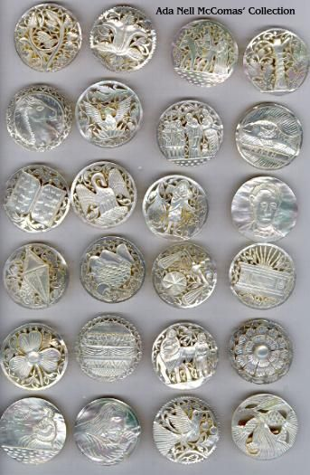 """Pearls, Page 3. This is a whole collection of beautiful pierced/carved iridescent white pearls called """"Bethlehem"""" and """"Jordan"""" pearls. Found in the Holy Land in the 1940's and 1950's and very highly collected and treasured today for their artistry. Thanks so much to Ada Nell McComas for providing the scans of her collection!"""