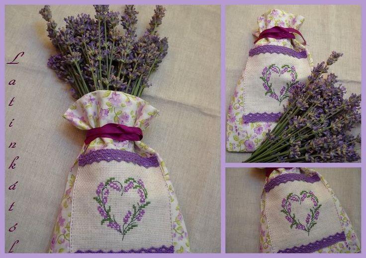 lavender cross stitch, embroidery