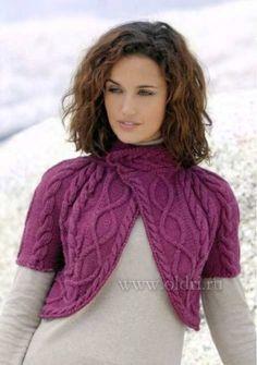 Бордовое вязаное болеро с косами