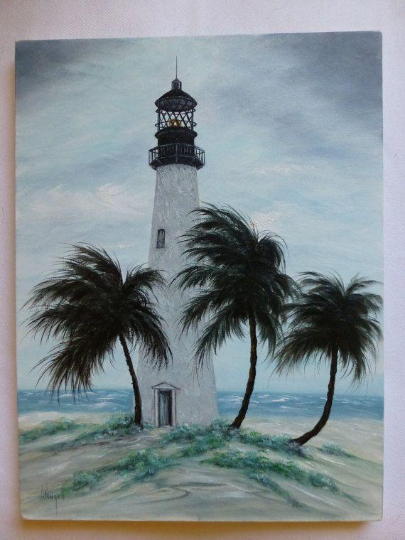 Original Oil Painting Cape Florida Lighthouse Art Beach Ocean Coast Palm Trees 16X12 $20