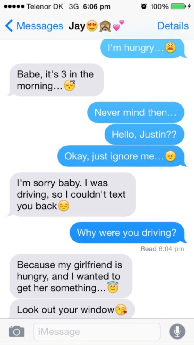 I'm hungry … Baby, it's three o'clock in the morning … No problem then … Heho, Justin ?? OK go ignore me … I'm sorry baby. I …