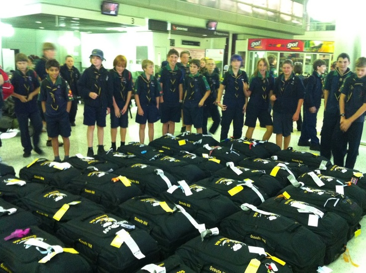 H04 have arrived — at Brisbane Airport. And look at all the bags nice and neat in a row. Not sure if they will come home like this :)