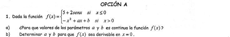 Ejercicio 1A 1999-2000 Junio. Propuesto en examen pau de Canarias. Matemática. Continuidad, derivabilidad y representación de funciones. Límites.