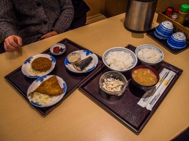 Asakusa 2chome Shokudo 6/6 Our assortment of okazu: ajifrai (deep-fried horse mackerel), menchikatsu (deep-fried ground meat croquette), grilled saba (mackerel), umeboshi, makaroni salad and a wonderful thick misosiru soup -all this plus two bowls of gohan  (small &medium) for less than ¥1200! #Asakusa, #2chome, #Shokudo, #okazu, #ajifrai, #menchikatsu, #saba, #misosiru March 8, 2016 © Grigoris A. Miliaresis