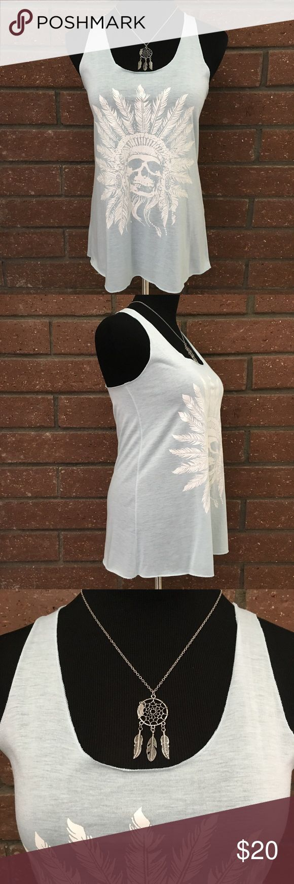 """Mint Green Southwestern Tank Top Light mint green tank top with feather headdress printed in white. Content is 65% Cotton & 35% Polyester. Measurements flat are 15.75"""" pit to pit & 26"""" long. In excellent condition with NO spots, holes or pilling. Bear Dance Tops Tank Tops"""