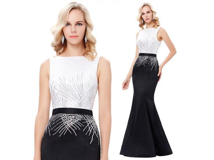 Černo-bílé polečenské šaty Grace Karin, RYCHLÉ DODÁNÍ - Bestmoda - black white long prom evening dress