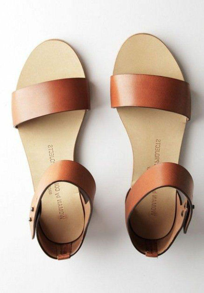sandales femme en cuir marron, spartiates femme