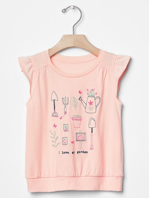 Embroidered garden flutter tee