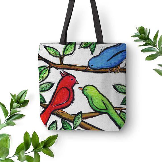 Birds Illustration Tote Bag Children Bags Illustration Art