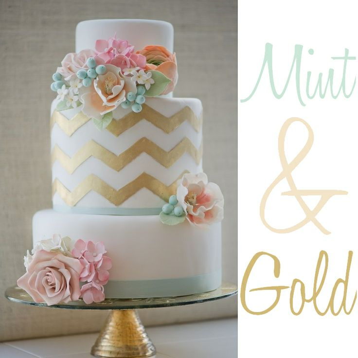 Gold and Mint Chevron Cake