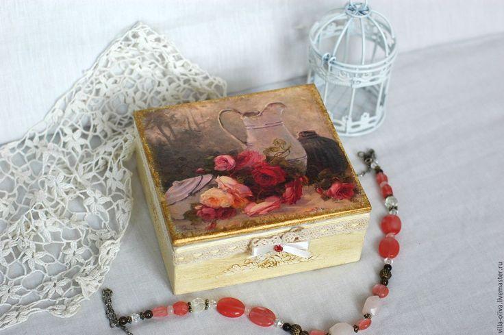 Купить Шкатулка Винтажные розы - бежевый, кремовый, кремовый цвет, кремовые розы, розы