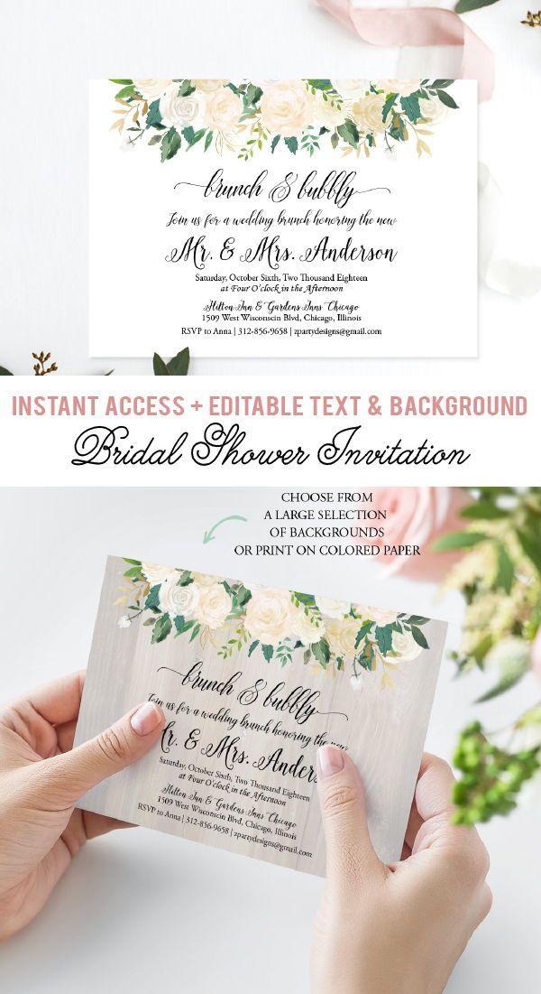 Elegant Brunch And Bubbly Invitation Floral Post Wedding Etsy Wedding Brunch Invitations Wedding Bridal Shower Invitations Bridal Brunch Invitations