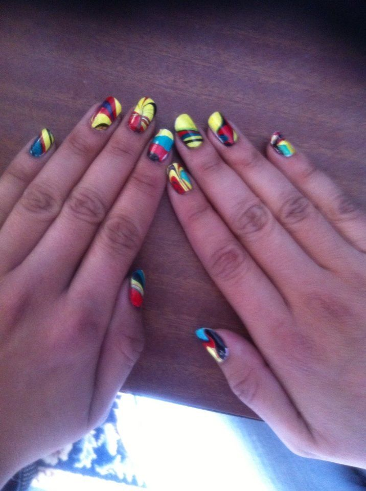 NAILED IT! An experiment that went right. Marbled Rasta Nail Art. Thanks YouTube
