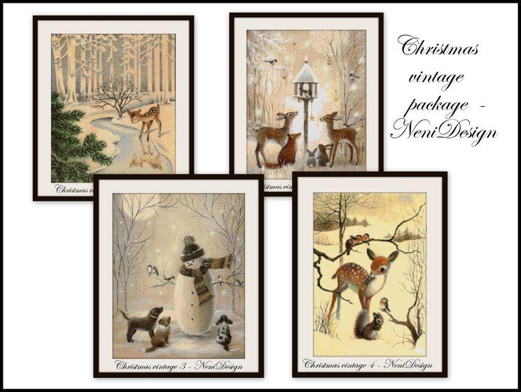 Christmas vintage package - 4 pattern - cross stitch pattern - PDF pattern - instant download!