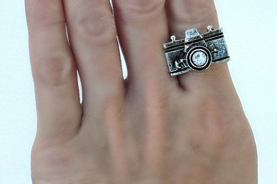 Antique Silver Hipster Camera Ring with Swarovski by BevinBold, $6.95