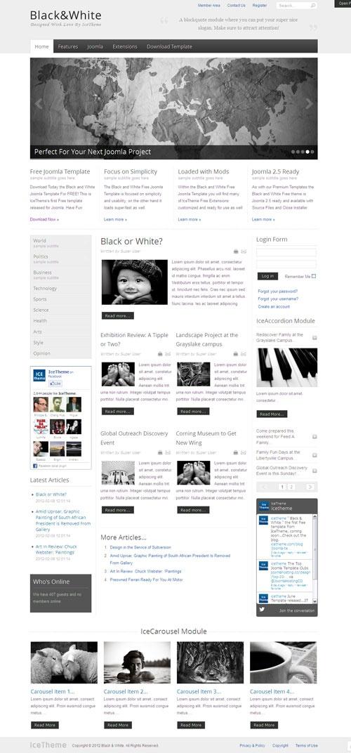 Black White Free Joomla Template