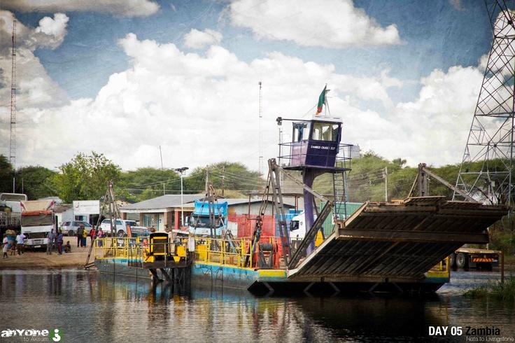 Crossing the Zambezi into Zambia.