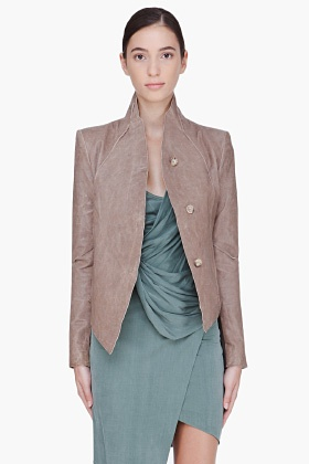 Helmut Lang Cropped Taupe Leather Jacket for Women | SSENSE