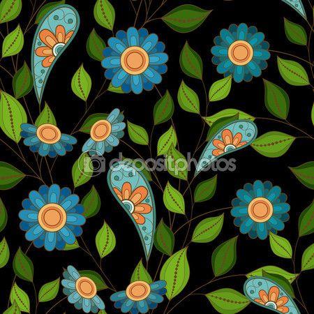 Цветные бесшовный цветочный фон — стоковая иллюстрация #88081554