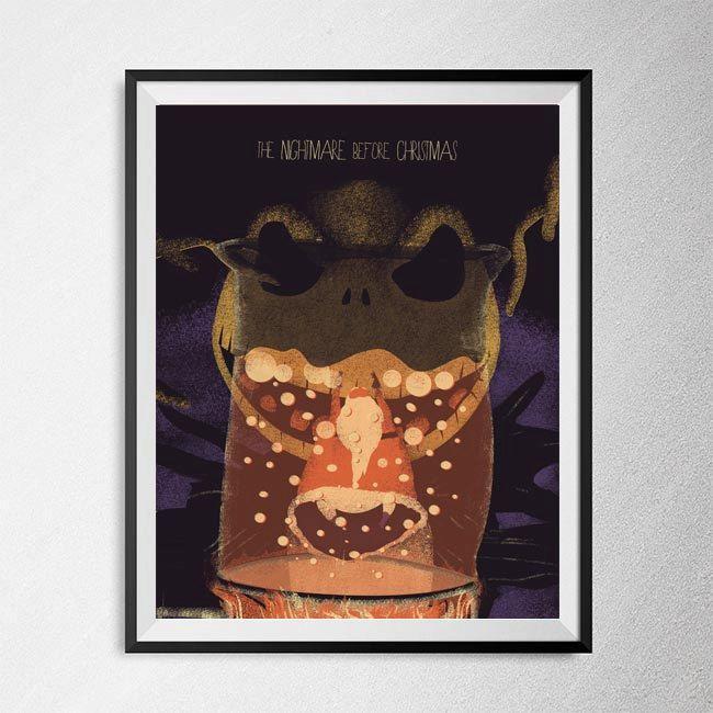 Illustration The Nightmare Before Christmas Minimal film poster Art Print movie poster Tim Burton Jack skeleton Poster