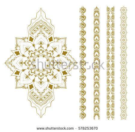 Mandala set. Mehendi elements. Henna design. Round Ornament Pattern. Geometric circle element made in vector. Spiritual and ritual symbol of Islam, Arabic, Indian religions.  Oriental motifs.