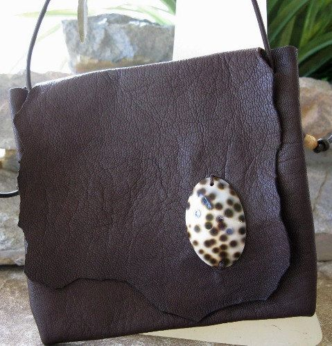 Calf Leather Pouch Purse Cowrie Shell Brown by WildcatLeatherCo