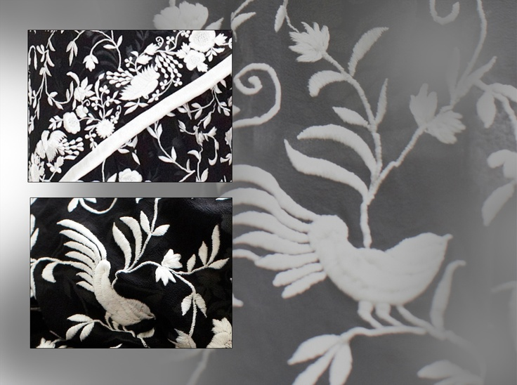 Persion Embroidery (gara) Sari with birds, leaf & flower motifs