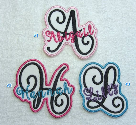 Iron on Personalized Single Name Patch with Monogram girl
