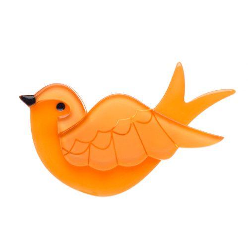 """Erstwilder; """"Anouk's Lost Letter"""" Brooch in orange"""