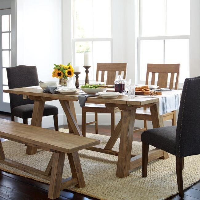 Wood Leona Farmhouse Extension Dining Table V2 World