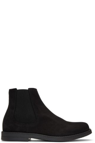 Ankle-high suede Chelsea boots in black. Round toe. Elasticized gusset at outer side. Zip closure at inner side. Tonal crepe rubber sole. Silver-tone hardware. Tonal stitching.