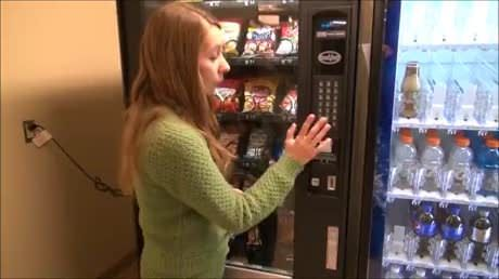 Get a free snack/drink from a vending machine for free