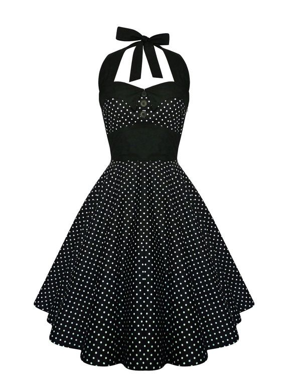 Rockabilly Dress Black Polka Dot Halter PinUp Dress Vintage 50s Retro Gothic Dress Lolita Steampunk Halloween Dress Party Plus Size Clothing
